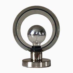 Lámpara de mesa de vidrio y metal, años 70