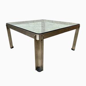 Tavolino da caffè vintage industriale in acciaio e vetro