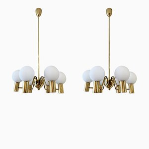 Brass & Glass Chandeliers by Hans-Agne Jakobsson for Markaryd, 1950s, Set of 2