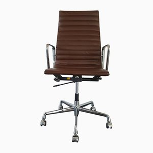 Chrome & Leather EA 119 Desk Chair by Charles & Ray Eames for Vitra, 1990s