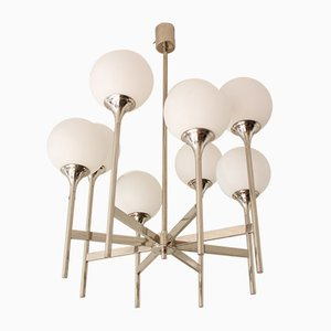 Mid-Century Chrome and Opaline Glass Chandelier by Gaetano Sciolari