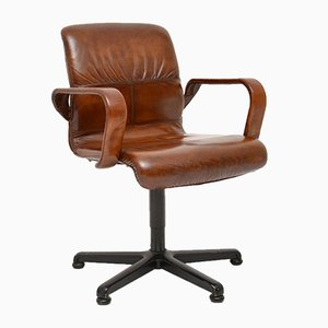 Vintage Leather Swivel Desk Chair, 1970s