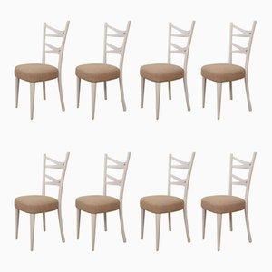 Weiße ialienische Esszimmerstühle, 1940er, 8er Set