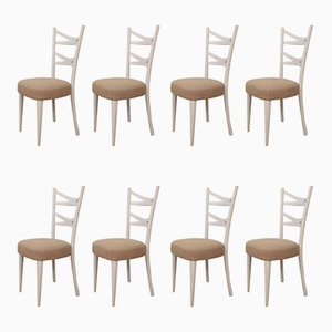White Italian Dining Chairs, 1940s, Set of 8
