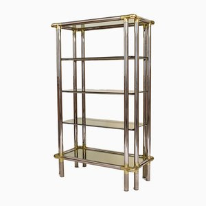 Mid-Century Hollywood Regency French Chrome and Brass Shelf, 1970s