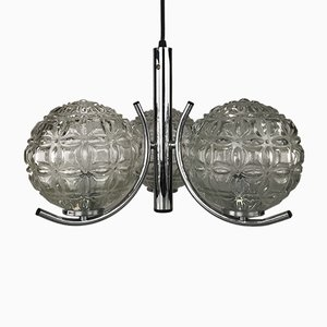Mid-Century Glass and Chrome Ceiling Lamp from Richard Essig