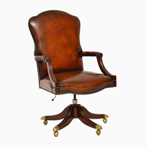 Antique Leather and Mahogany Swivel Desk Chair, 1950s