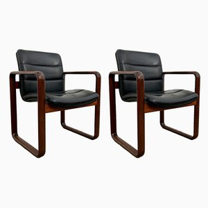 Vintage Leather Armchairs by Burkhard Vogtherr for Rosenthal, 1970s, Set of 2