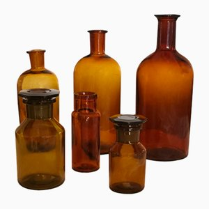 Vintage Apothecary Bottles, Set of 6