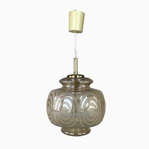 Mid-Century Space Age Deckenlampe aus Messing & Glas, 1960er