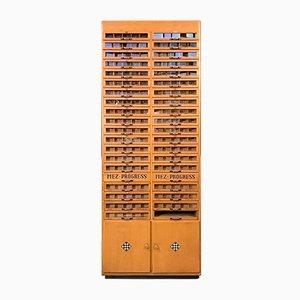 German Industrial Wood & Glass Showcase Cabinet from Gütermanns Nähseide, 1960s