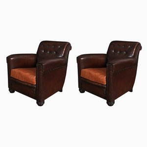 French Leather Club Chairs, 1920s, Set of 2