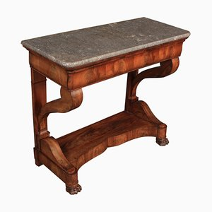 Antique Mahogany & Marble Console Table