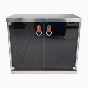Glass, Steel, and Leather Sideboard by Guido Faleschini for Hermès, 1970s