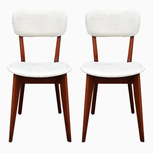 French Wood & Leather Side Chairs, 1950s, Set of 2