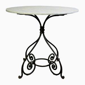 Antiker Gartentisch aus Schmiedeeisen & Marmor, 1870er