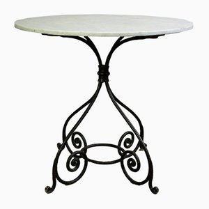 Antique Wrought Iron and Marble Garden Table, 1870s