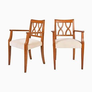 Art Deco Oak Dining Chairs, 1940s, Set of 2