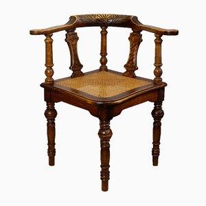 Silla de escritorio modernista antigua de nogal, década de 1900