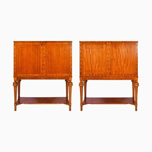 Swedish Modern Mahogany Cabinets, 1940s, Set of 2