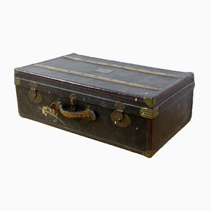 Vintage Wooden and Leather Trunk, 1930s