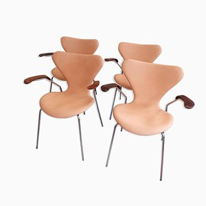 3207 Armchairs by Arne Jacobsen for Fritz Hansen, 1960s, Set of 4