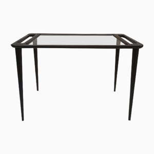 Vintage Italian Black Lacquered Wood and Glass Coffee Table, 1950s