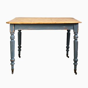 Antique French Blue Dining Table on Wheels