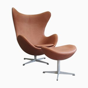 Egg Chair & Ottoman by Arne Jacobsen for Fritz Hansen, 1960s, Set of 2