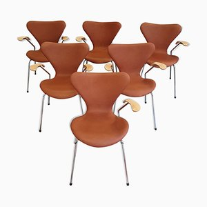 3207 Armchairs by Arne Jacobsen for Fritz Hansen, 1960s, Set of 6