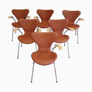 3207 Armlehnstühle von Arne Jacobsen für Fritz Hansen, 1960er, 6er Set