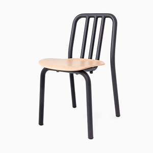 Black tube & Oak Chair by Eugeni Quitllet for Mobles 114