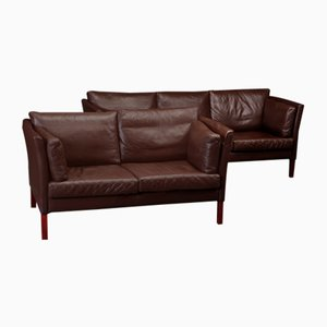 Danish Leather Sofas, 1960s, Set of 2