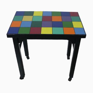 Multi Colored Side Table on Wheels, 1930s