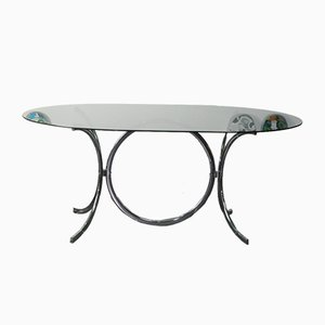 Vintage Smoked Glass and Chrome Dining Table, 1970s