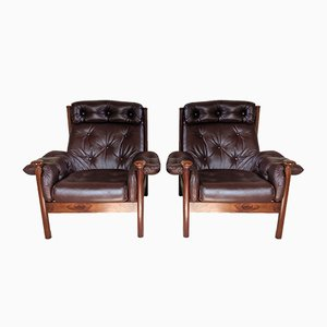 Leather Armchairs, 1960s, Set of 2