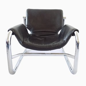 Leather Lounge Chair by Maurice Burke for Pozza, 1970s