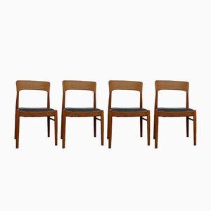 Esszimmerstühle aus Teak & Leder von Henning Kjærnulf für Korup Stolefabrik, 1960er, 4er Set