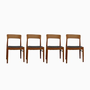 Teak & Leather Dining Chairs by Henning Kjærnulf for Korup Stolefabrik, 1960s, Set of 4