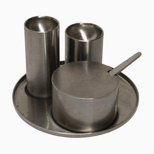 Salero, pimentero y recipiente con cuchara para mostaza de Arne Jacobsen para Stelton, 1967. Juego de 4