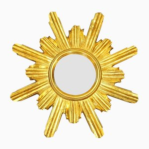 Spiegel goldfarbenem Rahmen, 1960er