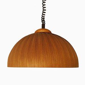 Schwedische Deckenlampe aus Holz, 1960er