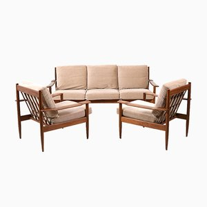 Mid-Century Danish Sofa & Armchairs, Set of 3