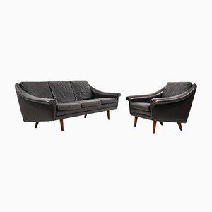 Mid-Century 3-Sitzer Sofa & Sessel aus Leder von Aage Christiansen für Erhardsen & Andersen, 2er Set