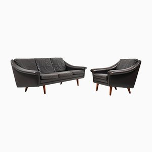 Mid-Century Leather 3-Seater Sofa and Armchair by Aage Christiansen for Erhardsen & Andersen, Set of 2