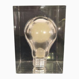 Vintage Dekorationsobjekt mit eingeschlossener phosphoreszierender Glühbirne von Pierre Giraudon