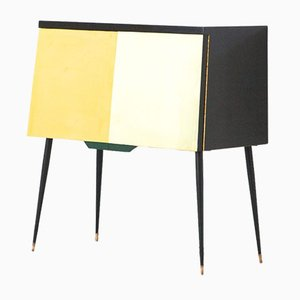 Mid-Century Italian Black Lacquered Wood, Brass, and Iron Cabinet, 1950s
