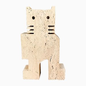 Italian Brutalist Cat Sculpture by Fratelli Mannelli for Travertino di Rapolano, 1970s