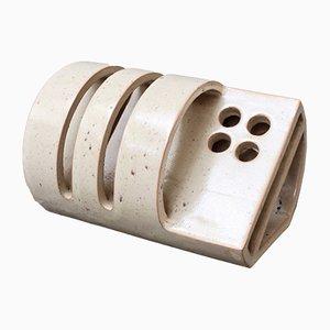 Portalettere in ceramica con portapenne, anni '50
