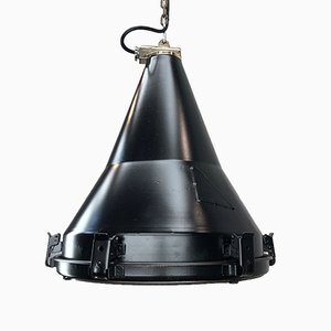 Black Industrial Conical Ceiling Lamp from Daeyang, 1977